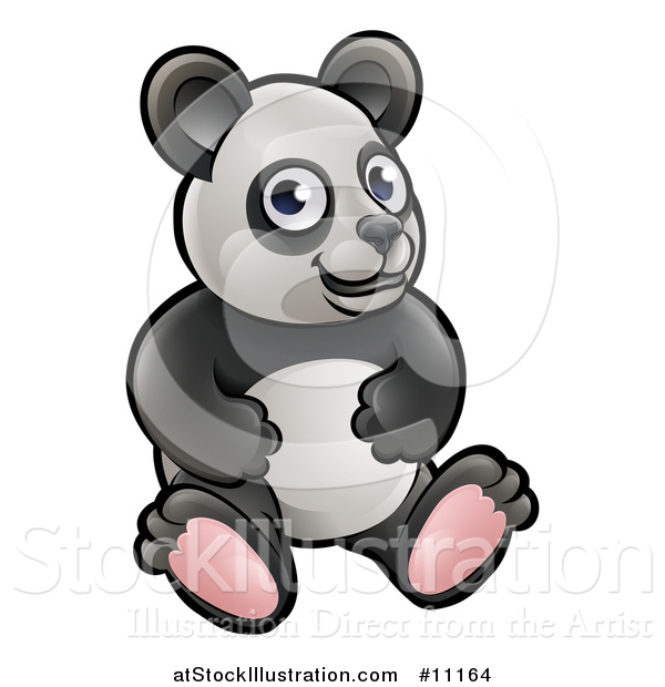 Vector Illustration of a Cartoon Sitting Panda