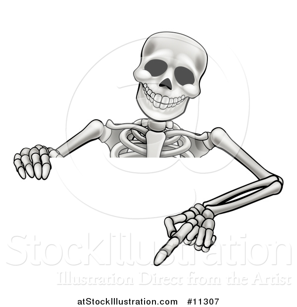 Vector Illustration of a Cartoon Skeleton Pointing down over a Sign
