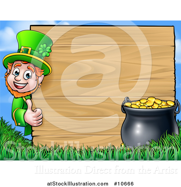 Vector Illustration of a Cartoon St Patricks Day Leprechaun Giving a Thumb up Around a Wood Sign with a Pot of Gold
