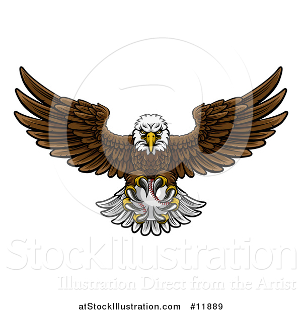 Vector Illustration of a Cartoon Swooping American Bald Eagle with a Baseball in His Talons