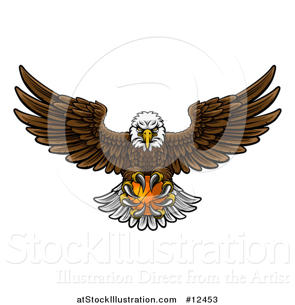 Vector Illustration of a Cartoon Swooping American Bald Eagle with a Basketball in His Talons