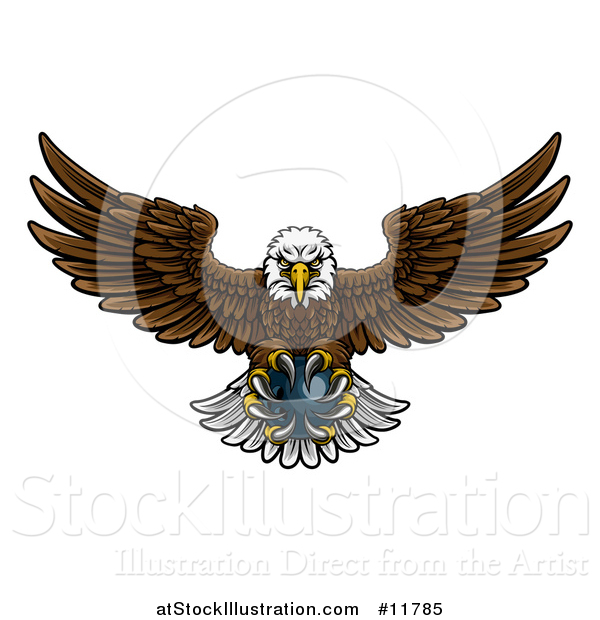 Vector Illustration of a Cartoon Swooping American Bald Eagle with a Bowling Ball in His Talons