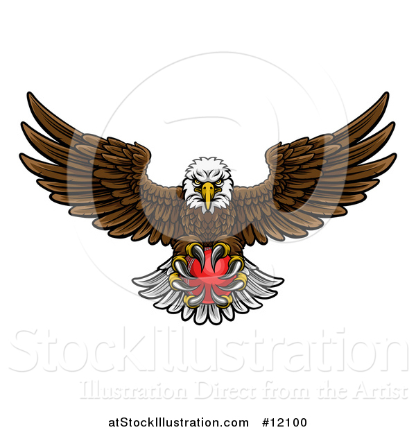 Vector Illustration of a Cartoon Swooping American Bald Eagle with a Cricket Ball in His Talons