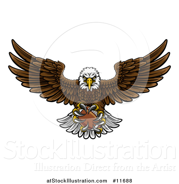 Vector Illustration of a Cartoon Swooping American Bald Eagle with a Football in His Talons