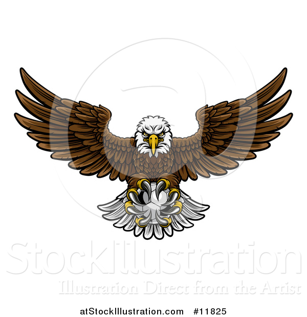 Vector Illustration of a Cartoon Swooping American Bald Eagle with a Soccer Ball in His Talons
