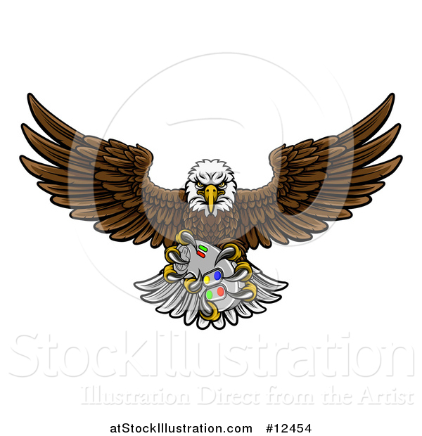 Vector Illustration of a Cartoon Swooping American Bald Eagle with a Video Game Controller in Its Claws