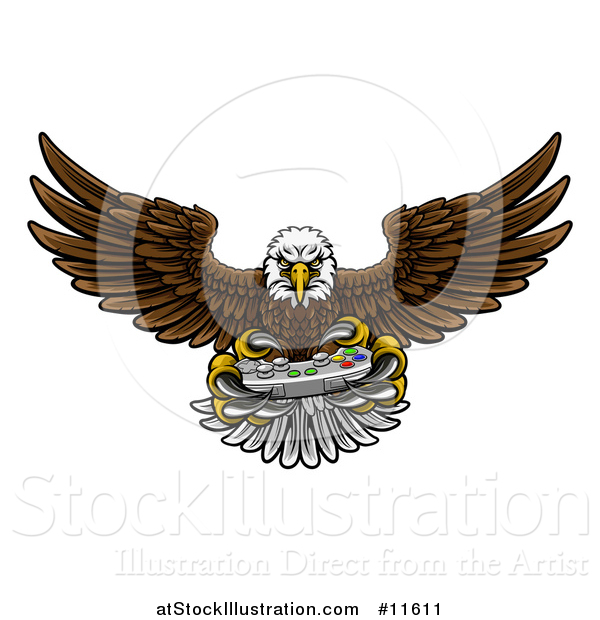 Vector Illustration of a Cartoon Swooping American Bald Eagle with a Video Game Controller in Its Talons