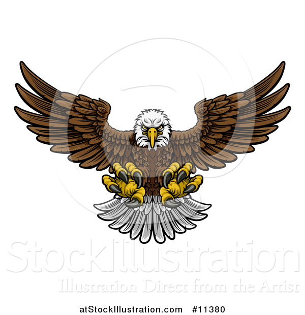 Vector Illustration of a Cartoon Swooping American Bald Eagle with Talons Extended, Flying Forward