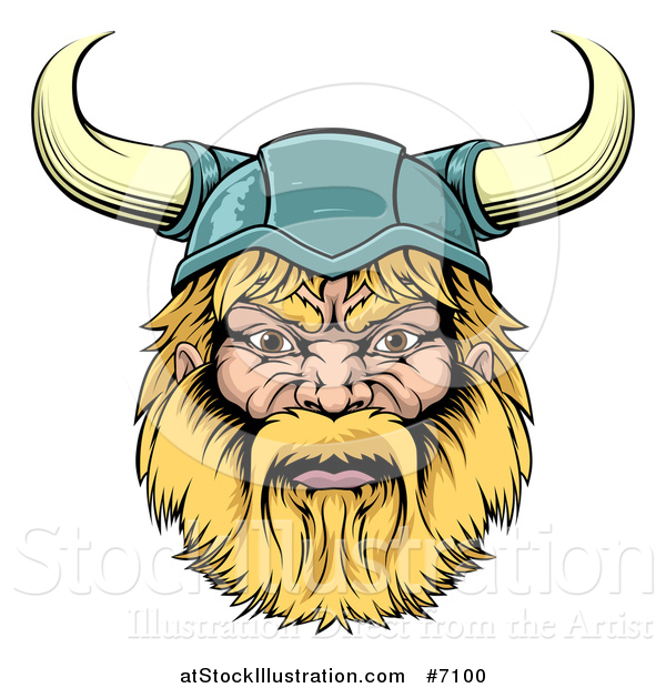 Vector Illustration of a Cartoon Tough Blond Male Viking Warrior Head with a Horned Helmet