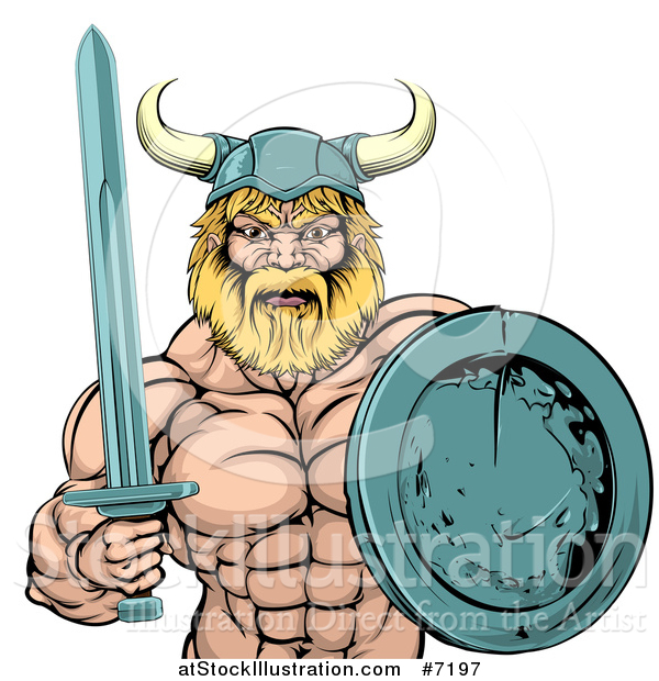 Vector Illustration of a Cartoon Tough Muscular Blond Male Viking Warrior Holding a Sword and Shield
