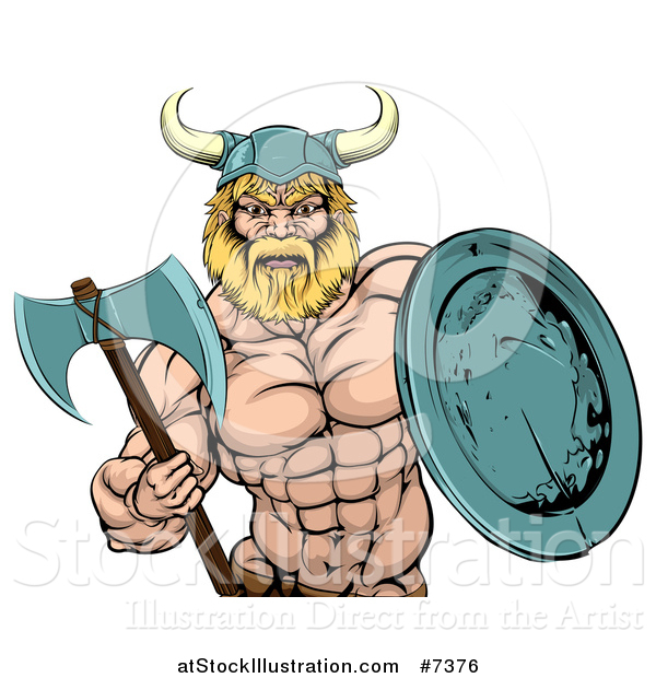 Vector Illustration of a Cartoon Tough Muscular Blond Male Viking Warrior Holding an Axe and Shield