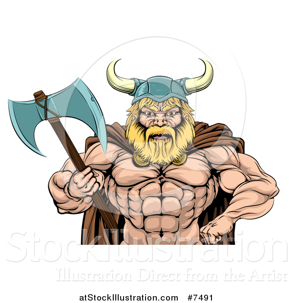 Vector Illustration of a Cartoon Tough Muscular Blond Male Viking Warrior Holding an Axe, from the Waist up