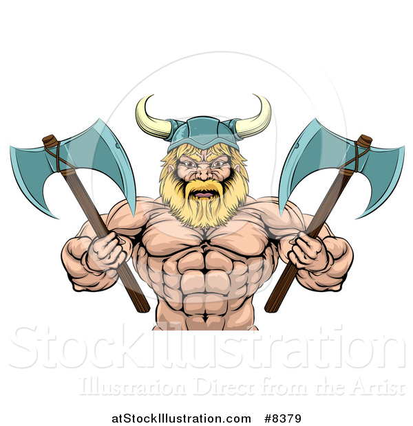 Vector Illustration of a Cartoon Tough Muscular Blond Male Viking Warrior Holding Axes, from the Waist up