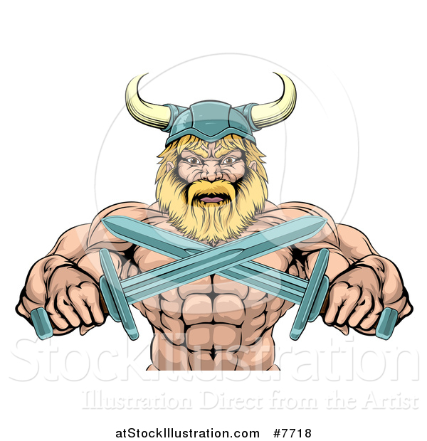 Vector Illustration of a Cartoon Tough Muscular Blond Male Viking Warrior Holding Crossed Swords, from the Waist up