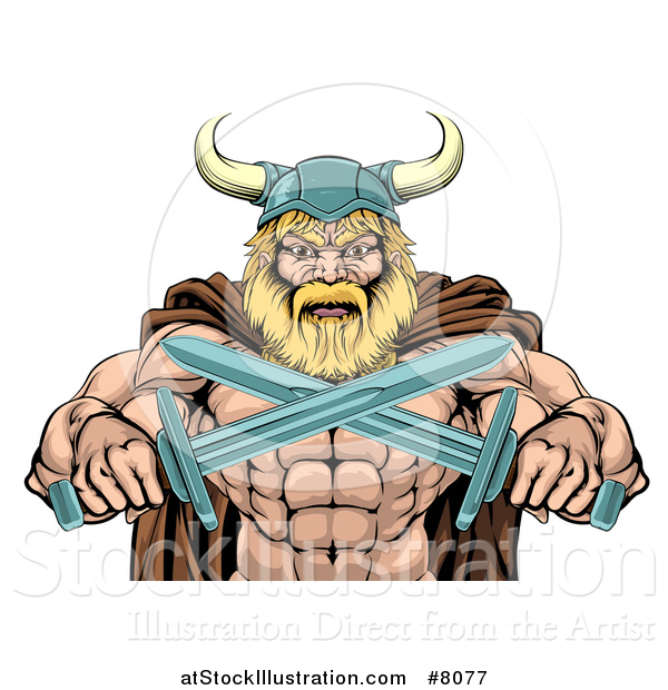 Vector Illustration of a Cartoon Tough Muscular Blond Male Viking Warrior in a Cape and Helmet, Holding Crossed Swords, from the Waist up