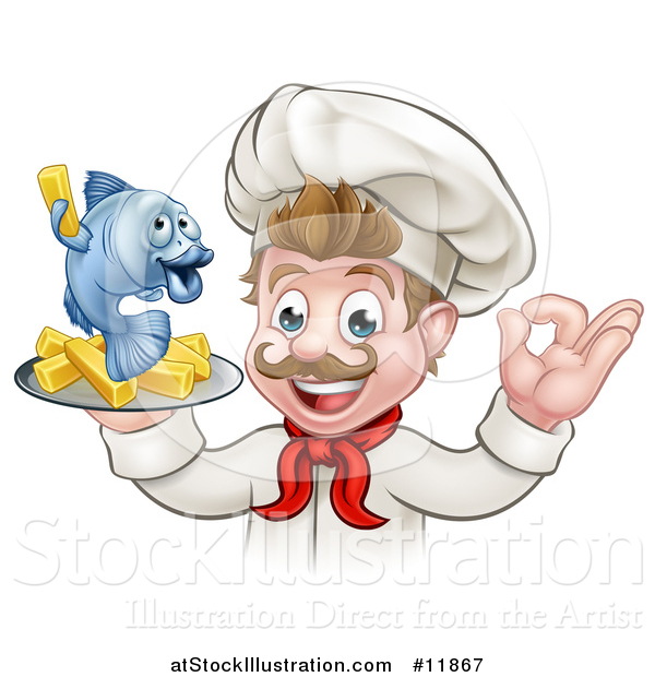 Vector Illustration of a Cartoon White Male Chef Gesturing Ok and Holding a Fish and Chips on a Tray