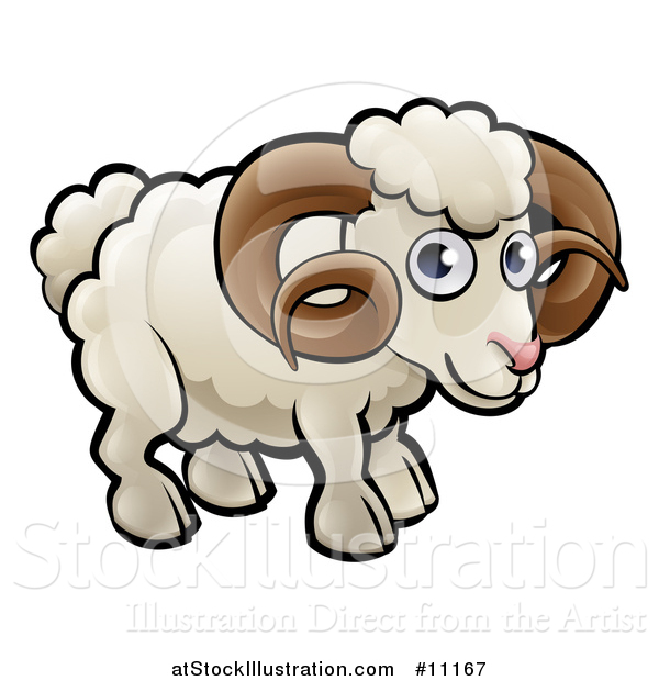 Vector Illustration of a Cartoon White Ram