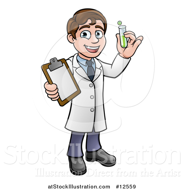 Vector Illustration of a Cartoon Young Male Scientist Holding a Clipboard and Test Tube