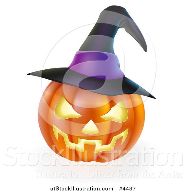 Vector Illustration of a Carved Halloween Jackolantern Pumpkin with a Purple Witch Hat