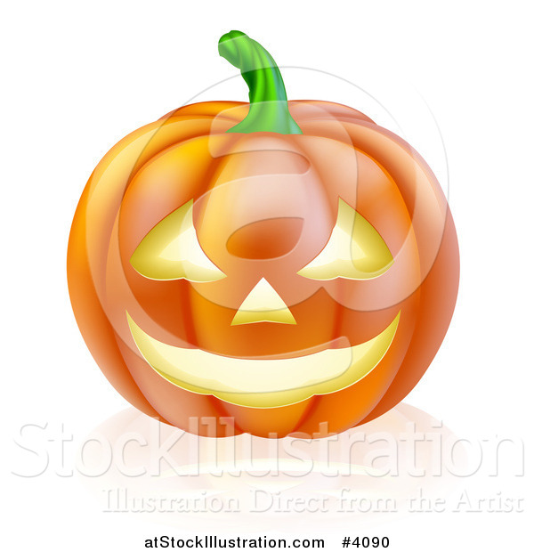 Vector Illustration of a Carved Halloween Jackolantern Pumpkin with a Smile