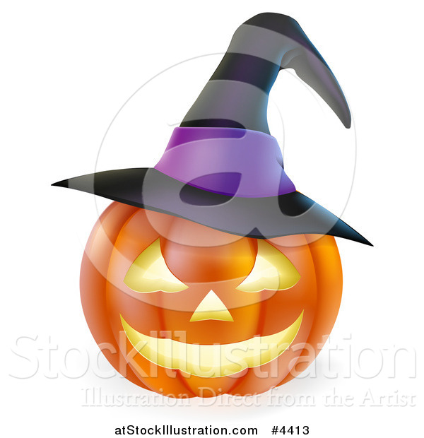 Vector Illustration of a Carved Halloween Jackolantern Pumpkin with a Witch Hat