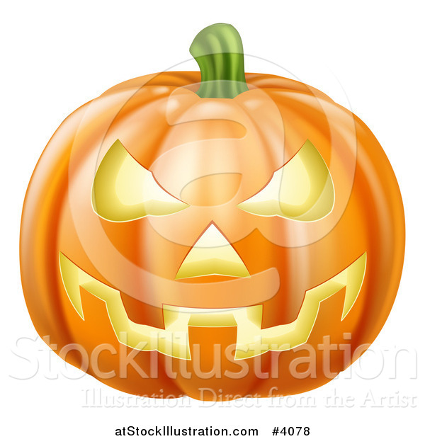 Vector Illustration of a Carved Jackolantern Halloween Pumpkin with an Evil Grin