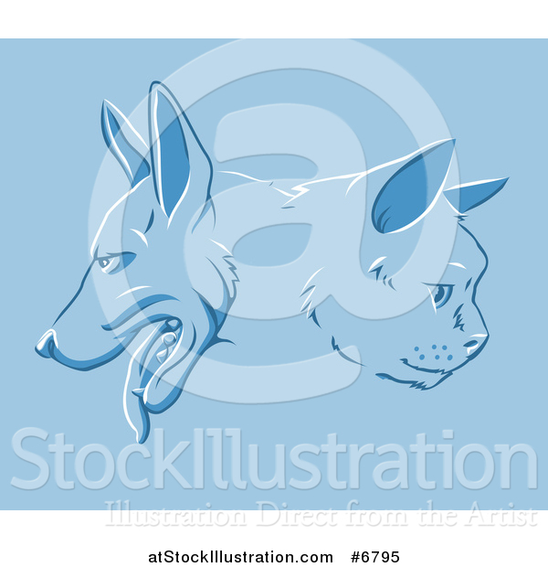 Vector Illustration of a Cat and Dog Faces in Profile over Blue