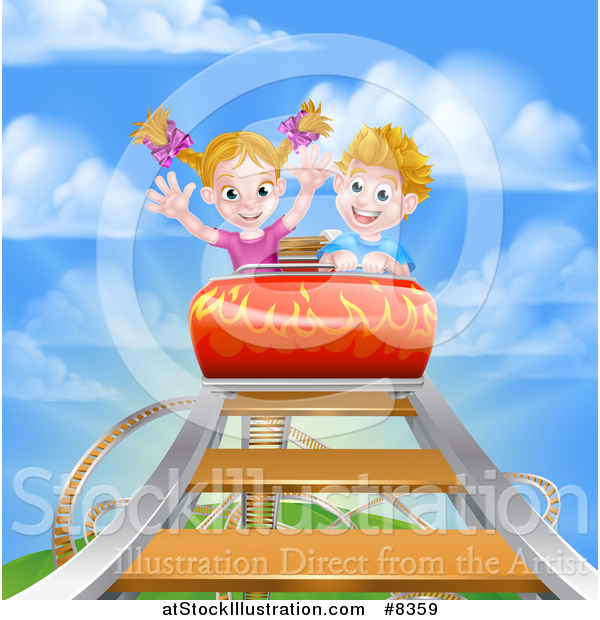 Vector Illustration of a Caucasian Boy and Girl on a Roller Coaster Ride, Against a Blue Sky with Clouds