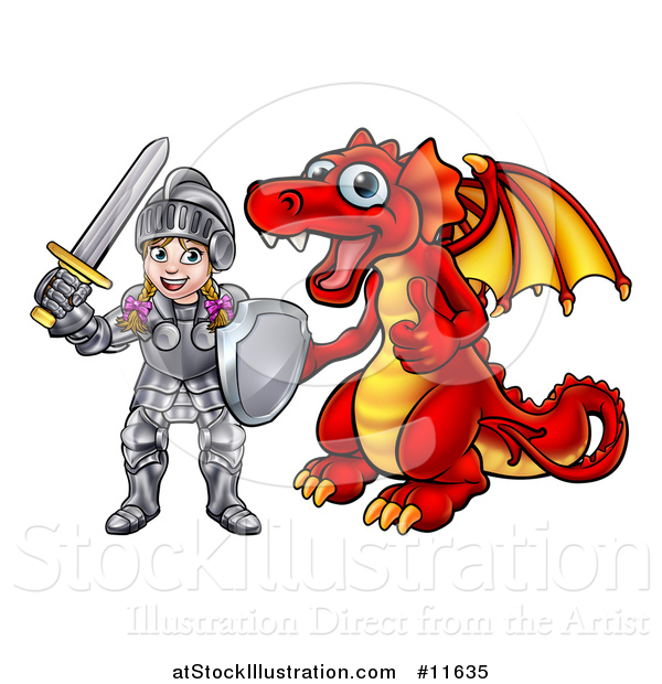 Vector Illustration of a Caucasian Girl Knight by a Red Dragon