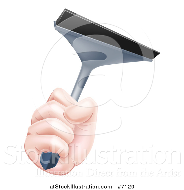 Vector Illustration of a Caucasian Hand Holding a Squeegee