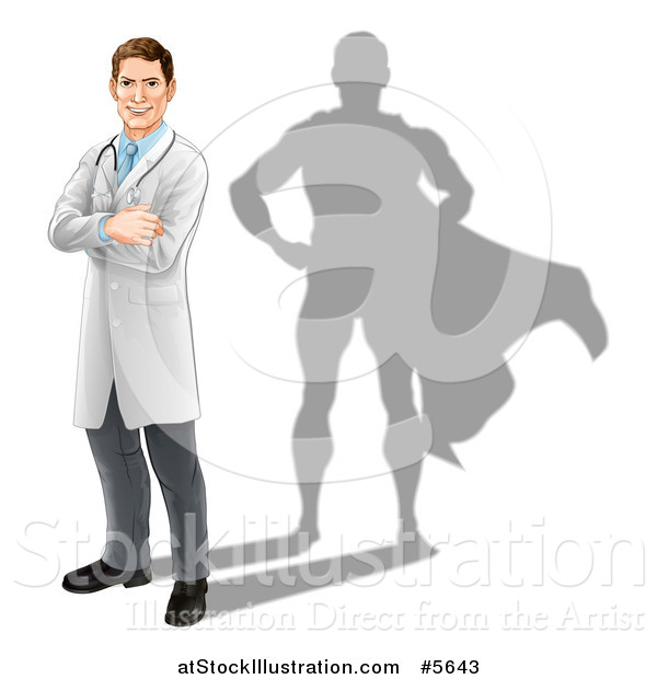 Vector Illustration of a Caucasian Male Doctor with a Super Hero Shadow