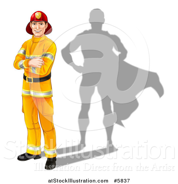 Vector Illustration of a Caucasian Male Fireman with Folded Arms and a Super Hero Shadow