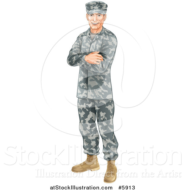 Vector Illustration of a Caucasian Male Soldier in Camouflage, Standing with Folded Arms