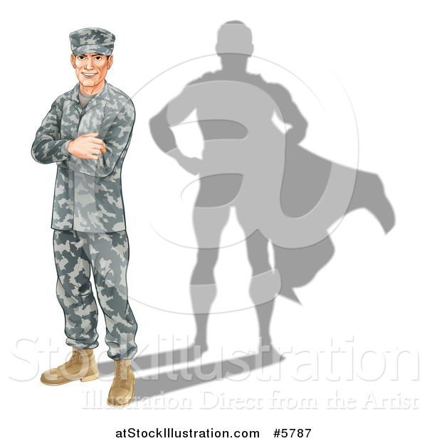Vector Illustration of a Caucasian Male Soldier with Folded Arms and a Super Hero Shadow