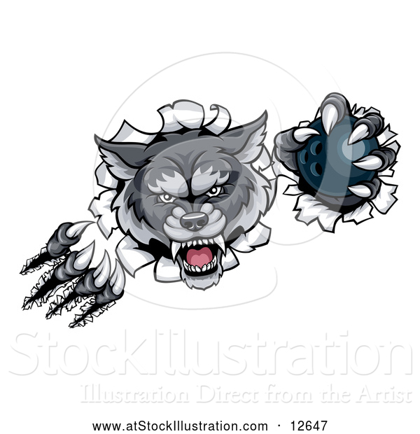 Vector Illustration of a Challenging Gray Wolf Bowling Mascot Slashing Through a Wall with Ball