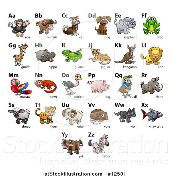 Vector Illustration of a Chart of Animals and Alphabet Letters
