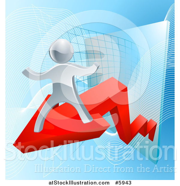 Vector Illustration of a Chart with a 3d Silver Man on a Red Arrow