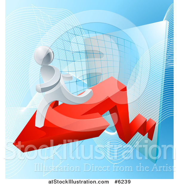 Vector Illustration of a Chart with a Red Arrow and 3d Running Silver Man