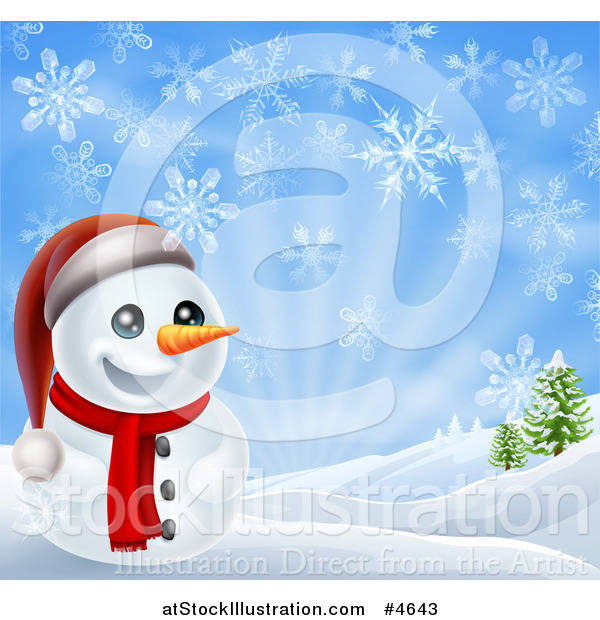 Vector Illustration of a Cheerful Snowman in a Hilly Landscape with Snowflakes