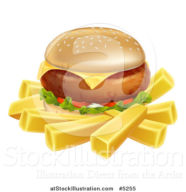 Vector Illustration of a Cheeseburger and French Fries