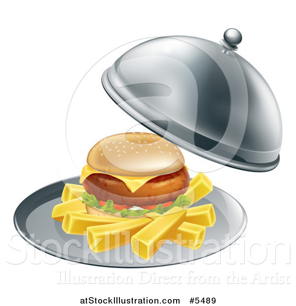 Vector Illustration of a Cheeseburger and Fries on a Cloche Platter