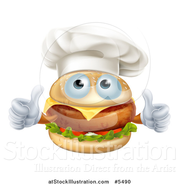 Vector Illustration of a Cheeseburger Chef Character Holding Two Thumbs up