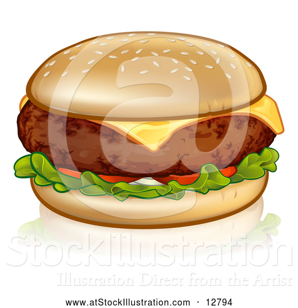 Vector Illustration of a Cheeseburger in Sesame Seed Bun with Tomato and Lettuce