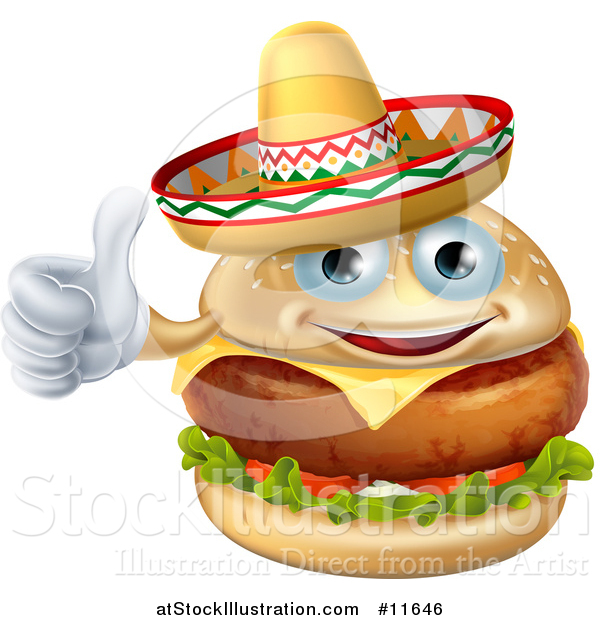 Vector Illustration of a Cheeseburger Mascot Wearing a Mexican Sombrero and Giving a Thumb up