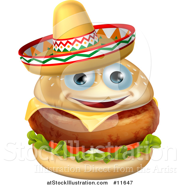 Vector Illustration of a Cheeseburger Mascot Wearing a Mexican Sombrero Hat