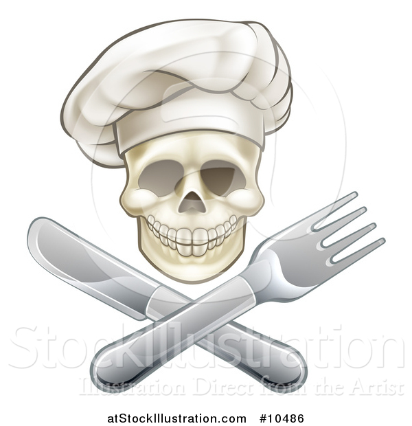 Vector Illustration of a Chef Human Skull over a Crossed Knife and Fork