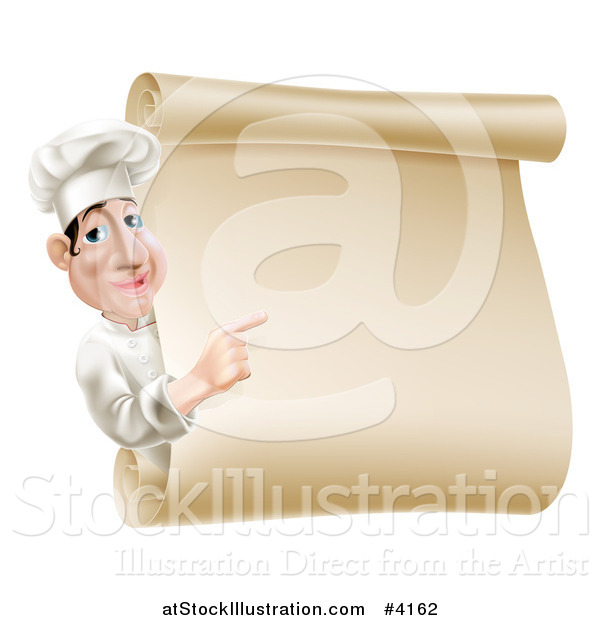 Vector Illustration of a Chef Looking Around and Pointing at a Scroll Menu Sign