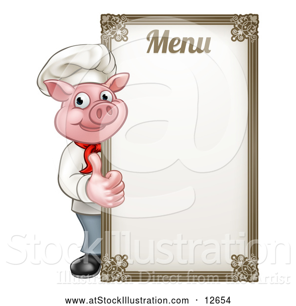 Vector Illustration of a Chef Pig Giving a Thumb up Around a Menu Board