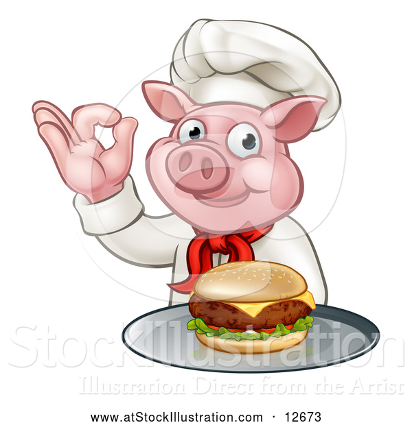 Vector Illustration of a Chef Pig Holding a Cheese Burger on a Tray and Gesturing Okay