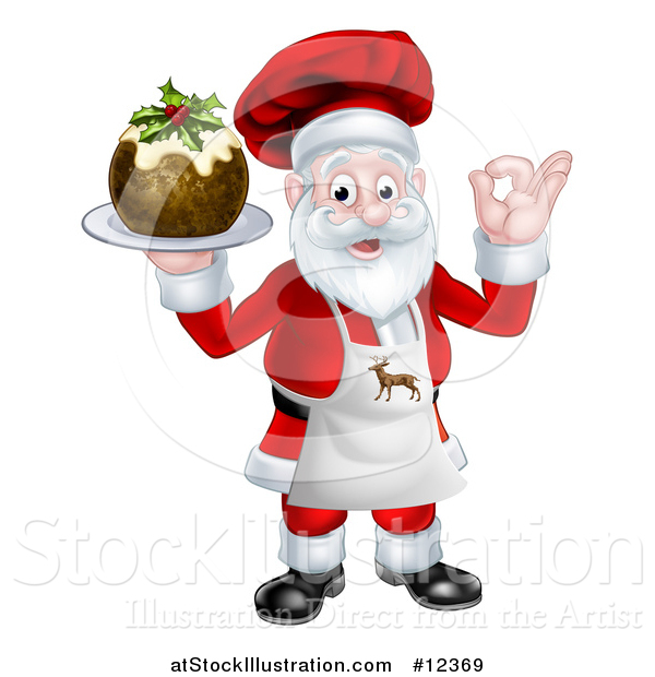 Vector Illustration of a Chef Santa Claus Holding a Christmas Pudding Dessert and Gesturing Perfect